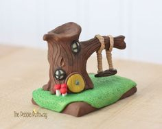 Gnome Home, Fairy House, polymer clay miniature Tree house with swing