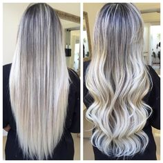 white blonde streaks - ombre