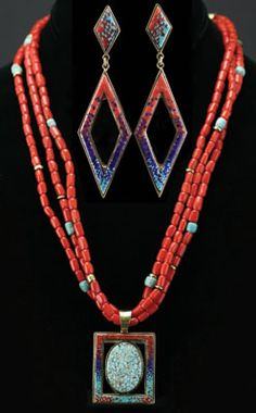 Carl and Irene Clark, Navajo Micro Inlay Necklace and Earrings, Necklace with Number 8 Spiderweb, Turquoise and Coral
