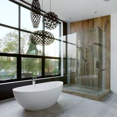 Rustic Japanese-Inspired Homes : modern japanese style house - love the lights Beautiful Bathrooms, Modern Bathroom, Master Bathroom, Bathroom Tubs, Minimalist Bathroom, Design Bathroom, Modern Shower, Industrial Bathroom, Bath Tub