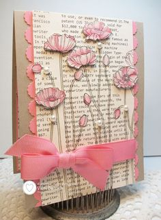 SU! Pleasant Poppies stamp; First Edition DSP; colors are Crumb Cake, Pretty in ink and Regal Rose - Vicki Burdick