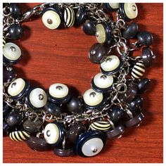 Vintage Button Repurposed Recycled Button Charm Bracelet