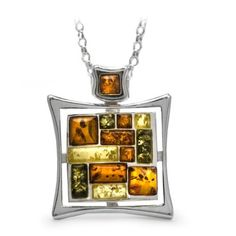 Sterling Silver Multi-Color Amber Rectangular Mosaic Pendant Necklace $69 #necklace #gifts