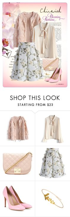 """""""CHICWISH Let's Blossom on a Mesh Skirt"""" by elena-indolfi ❤ liked on Polyvore featuring Chicwish, Forever 21, Gianvito Rossi, chicwish, SpringStyle, springfashion, elenaindolfi and zazzy"""