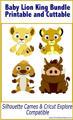 Use these Disney svg files with the Baby Lion King theme. Perfect to decorate for a Lion King Baby shower. Use your silhouette cameo, cricut explore or other cutting machine with these lion king svg files. Lion king baby shower. Simba baby shower. Nala baby shower.