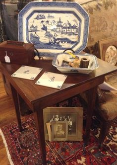 Antique vintage blue and white