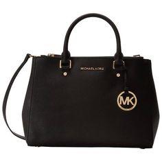 Michael Kors Sutton Medium Black Satchel Handbag ($345) ❤ liked on Polyvore featuring bags, handbags, black, satchel purses, man bag, michael kors handbags, leather hand bags and michael kors