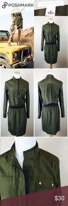 "BR Long Sleeve Olive Safari Military Dress Comfortable travel inspired olive dress by Banana Republic. Side pockets in skirt. Pockets on chest. Ruffle collar. Longsleeve with button for rolling up sleeves. Elastic black waistband. 52% Silk/ 48% Cotton. 23"" sleeves. 36"" length. Bust 17"" across. (34) hidden snap buttons along front. Has 2-3 small spots in front of skirt shown in picture above. Preowned condition. Reasonable offers welcome. Banana Republic Dresses Long Sleeve"