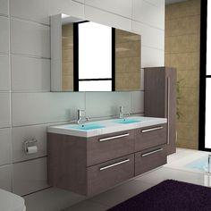 Waschbecken & Spiegelschrank Doppelwaschtisch Unterschrank Braun Badmöbel