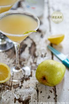 Blissful Pear Martini | FamilyFreshCooking.com #drinks #sips #cocktail #martini #vodka #pear
