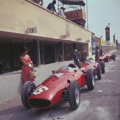 Willy Mairesse, Ferrari, #16, (finished 3rd), Richie Ginther, Ferrari, #18, (finished 2nd), Italian Grand Prix, 1960.