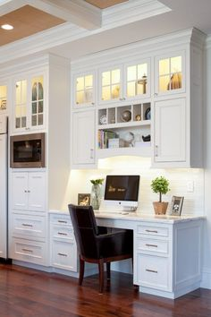 Trendy home office nook filing cabinets 49 ideas Kitchen Office Nook, Kitchen Desk Areas, Kitchen Desks, Home Office Desks, New Kitchen, Kitchen Cabinets, Kitchen Shelves, Glass Cabinets, Kitchen Work Station