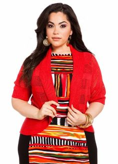 Ashley Stewart Women's Plus Size Pointelle Shadow Stripe Crop Shrug $24.99 (save $4.51) + Free Shipping