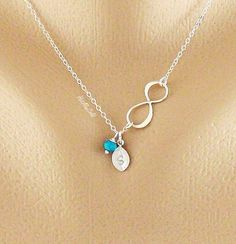 diy infinity pendant | Infinity Necklace Tiny Birthstone Charms Monogram by hotmixcold, $31 ...