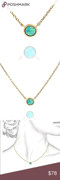 """anthropologie // dainty opal necklace NWT 14k-gold-plated opal necklace from Anthropologie. 1/4"""" pendant with 6.5mm green opal. Length is 16"""" with a 2"""" extender. The PERFECT necklace for layering! Anthropologie Jewelry Necklaces"""
