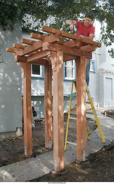 Craftsman-style Pergola - A step-by-step guide from FineHomebuilding Magazine.a Craftsman-style Pergola - A step-by-step guide from FineHomebuilding Magazine. Pergola Diy, Building A Pergola, Wooden Pergola, Outdoor Pergola, Pergola Plans, Outdoor Decor, Pergola Ideas, Pergola Roof, Building Plans