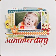 Summer day layout by Jen Jockish using the Down by the Shore collection and stencils by Fancy Pants Designs.
