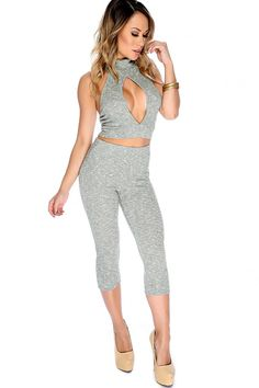 Sexy Olive 2 Piece Mock Neck Open Back Front Keyhole Opening Matching Crop Pant Outfit