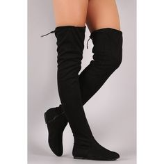 Suede Drawstring Tie Over-The-Knee Flat Boots - Kniehohe Stiefel High Heel Boots, Heeled Boots, Bootie Boots, Shoe Boots, High Heels, Thigh High Boots Flat, Flat Boots Outfit, Over The Knee Boot Outfit, Cute Shoes