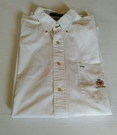 Tommy Hilfiger logo long sleeve white dress shirt size Large L in Clothing,  Shoes  amp c427b6427a