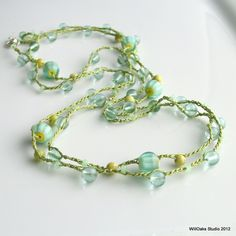 Spring Jewelry Crochet Silk Beaded Necklace or Wrap Cuff, Aqua Spring Green Yellow Glass and Stone, Spring Colors, Multistrand Silk Chain. $32.00, via Etsy.
