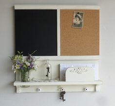 New... Country Cottage Mail and Key Holder/Organizer/Message Board/Chalkboard/Corkboard/Mason Jar Shelf