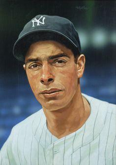 Joe DiMaggio by famed sports artist Arthur Miller 16 x 22 oil-on-board painting Baseball Live, New York Yankees Baseball, Baseball Art, Sports Baseball, Baseball Jerseys, Sports Art, Ny Yankees, Baseball Scoreboard, Basketball Tickets
