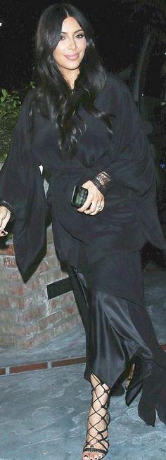 Who made  Kim Kardashian's black robe?
