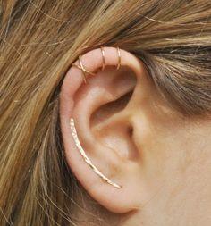 Set of 3 Ear Climber Ear Cuff Double Ear Cuff by Benittamoko