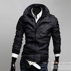 Double Zip Men Slim Fit Fashion Jacket