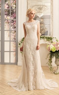 Shop affordable Sheath Floor-Length Scoop Cap-Sleeve Illusion Lace Dress With Appliques at June Bridals! Over 8000 Chic wedding, bridesmaid, prom dresses & more are on hot sale. Bridal Dresses Online, 2016 Wedding Dresses, Tulle Wedding, Designer Wedding Dresses, Bridal Gowns, Wedding Gowns, Ivory Wedding, Dress Online, Chic Wedding