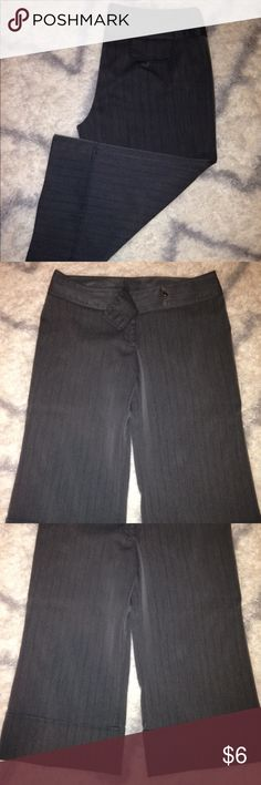 Gray Dress Pants with Black Pin Stripes Gently Used   Gray Dress Pants with Black Pin Stripes  Button Closure on Inside as pictured.  Decorative Button Closure on the side for added detail as pictured.  These are Capri Style Dress Pants with a Little Flare in the leg.  No Boundaries Brand  Size 15 No Boundaries Pants Trousers