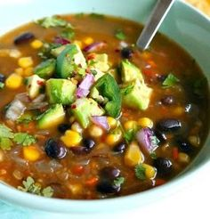 Black Bean soup Recipes is Among the Beloved soup Recipes Of Several People Round the World. Besides Easy to Make and Great Taste, This Black Bean soup Recipes Also Health Indeed. Vegan Soups, Vegan Vegetarian, Vegetarian Recipes, Cooking Recipes, Healthy Recipes, Vegan Black Bean Recipes, Healthy Soups, Black Bean Chili Recipe Vegetarian, Black Bean And Corn Soup Recipe
