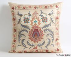 Hand Embroidered Silk Suzani Pillow Cover Decorative Pillow Cover, Vintage Uzbek Throw Pillow, Cushion Cover, Accent Pillow, gift for her Boho Pillows, Kilim Pillows, Throw Pillows, Embroidered Cushions, Embroidered Silk, Eclectic Decor, Eclectic Bedrooms, Modern Bedroom, Bedroom Decor