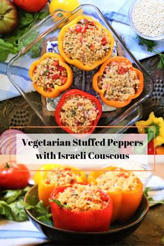 Vegetarian Stuffed Bell Peppers with Israeli Couscous - Very Vegan Val These vegetarian stuffed bell peppers are also vegan- they're filled with Israeli couscous salad, tomatoes, onions, and fresh herbs. Vegetarian Stuffed Peppers, Stuffed Pepers, Vegetarian Recipes, Cooking Recipes, Healthy Recipes, Vegan Vegetarian, Israeli Couscous Salad, Couscous Recipes, Vegetarian