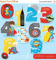 80% OFF SALE Superhero numbers clipart by Prettygrafikdesign