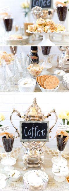 Consejos para armar un coffee bar de bodas absolutamente perfecto, elegante y económico.