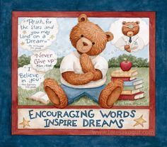 Encouraging Words by Teresa Kogut teddy bears, inspirational, teachers, books Early American, American Art, Tedy Bear, C Is For Cat, Colonial Art, Bunny Drawing, Vintage Teddy Bears, Bear Art, Angel Art