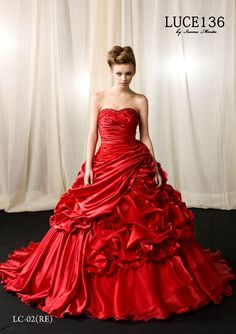 Beautiful, rich red ball gown, full of dimensions. Tina and I used to fall asleep at night dreaming of ball gowns. Gala Dresses, Satin Dresses, Wedding Dress Cake, Wedding Dresses, Pretty Dresses, Beautiful Dresses, Quinceanera, Red Colour Dress, Long Formal Gowns