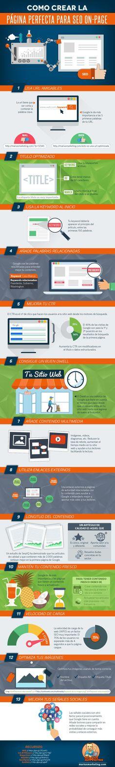 Cómo crear la página perfecta para SEO on-page #infografia #infographic #seo