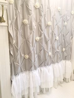Grey Ruffle Shower Curtain Pin Tuck Handmade Shabby Chic Bathroom Curtain Grey Ruffle Show Shabby Chic Bedrooms, Bedroom Vintage, Vintage Shabby Chic, Shabby Chic Style, Shabby Chic Homes, Shabby Chic Furniture, Shabby Chic Decor, Black Furniture, Rustic Decor
