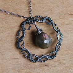 NeroliHandmade: Labradorite in Woven Frame - Sterling Silver Wire Wrapped Necklace