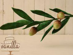 olive branch in gum-paste