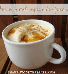 Hot Caramel Apple Cider Floats. So making these the next time it snows. Yum! From Shaken Together