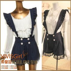 LIZ LISA wind to the ANK ROUGE Navy maid wind sweet lace Bib - Taobao