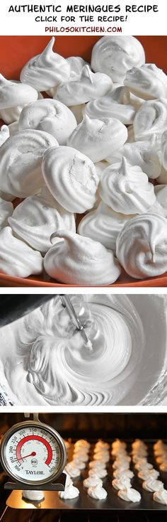 """AUTHENTIC MERINGUES RECIPES, very easy and super tasty!  Meringues are the foundation of many desserts (at my Italian family house in Bologna, we call them """"spumini""""). They are excellent when crumbled for stuffing ice cream cakes or whole, used as a decoration. They are also delicious eaten alone, perhaps covered with melted chocolate or flavored with coffee. - party game day pie idea sugar eggs"""
