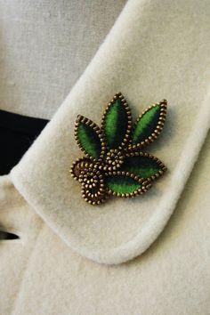 Felt and zipper multi leaf brooch ❤by woollyfabulous on Etsy