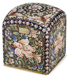 Fine Russian shaded cloisonné enameled silver sugar casket, gustav klingert, moscow, circa 1900, Rectangular form with domed lid, the bhttp://www.invaluable.com