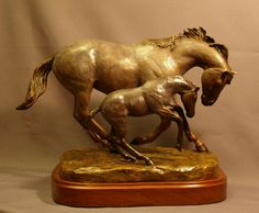 Euphoria Bronze Mare And Foal Horse Sculpture Sculpture  - Euphoria Bronze Mare And Foal Horse Sculpture Fine Art Print