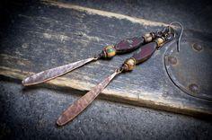 rustic earrings bohemian long drop earrings matte by entre2et7